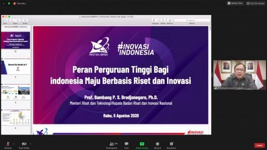 Online gathering bertajuk 'Indonesia Maju Berbasis Riset dan Inovasi Nasional: Peran Perguruan Tinggi Dalam Pengembangan Industri Nasional'. Tangkapan layar