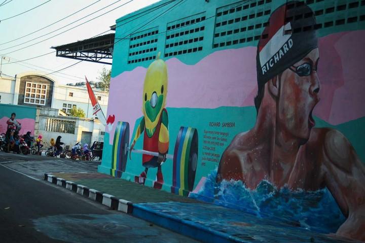 Mural Ekspresi Para Pahlawan Olahraga