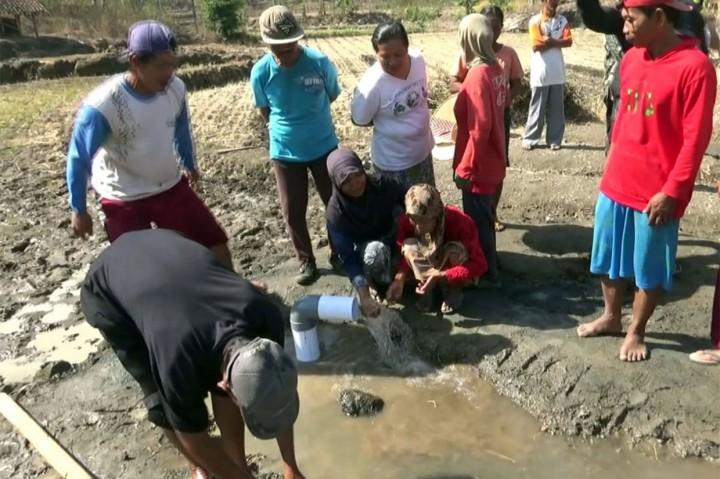 Heboh, Air Menyembur di Ladang Tandus di Gunung Kidul