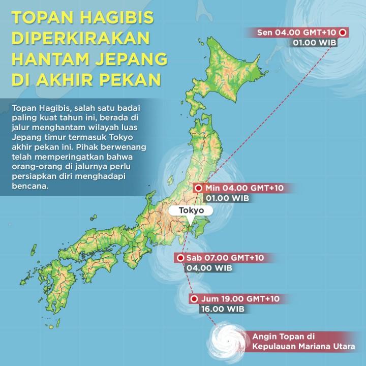 Topan Hagibis Diperkirakan Hantam Jepang di Akhir Pekan