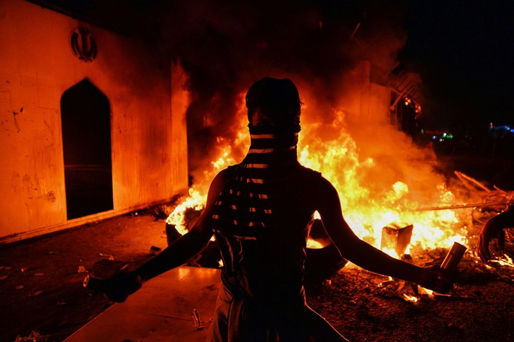 Kondisi Konsulat Iran di Najaf Usai Dibakar Demonstran