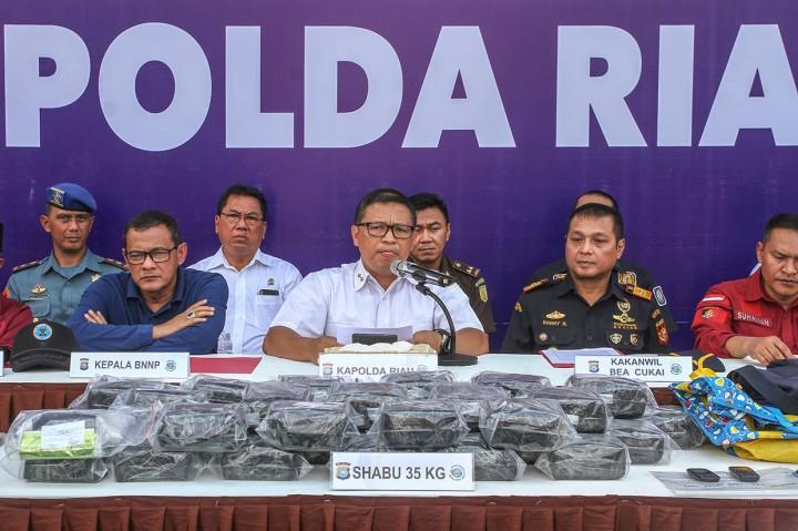 Polda Riau Gagalkan Penyelundupan 35 Kg Sabu Jaringan Malaysia