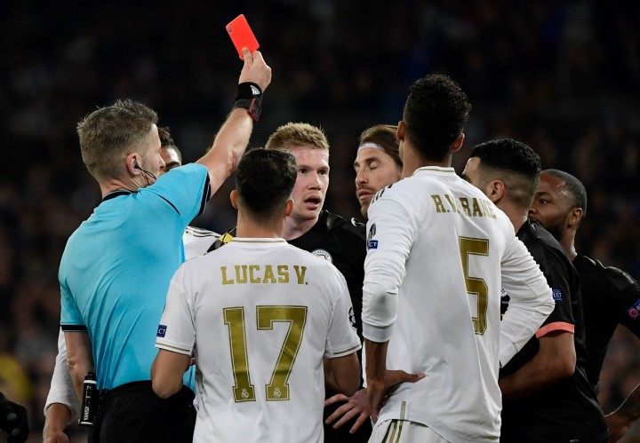 Man City Tekuk Madrid 2-1, Ramos Dikartu Merah