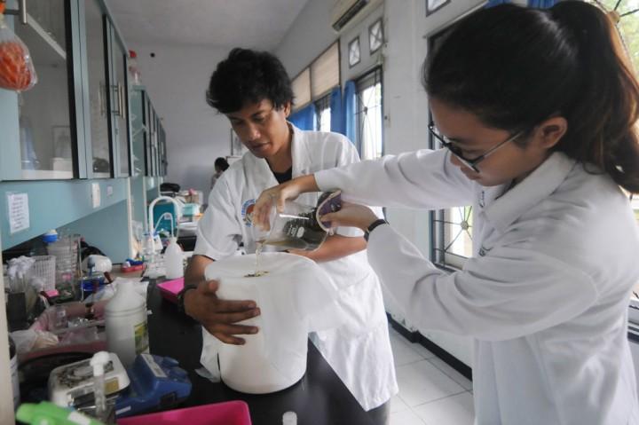 Siswa SMK dan Mahasiswa Produksi Cairan Antiseptik Berbahan Alami
