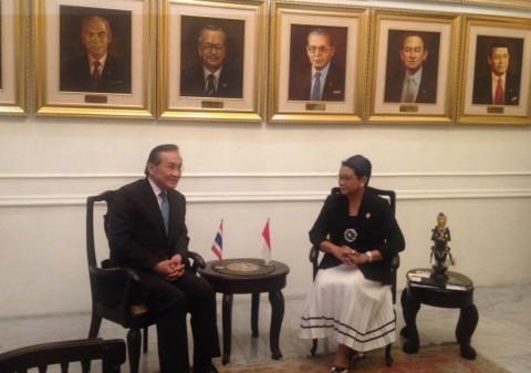 Pertemuan Menlu Retno Marsudi dan Menlu Thailand (Foto: Sonya