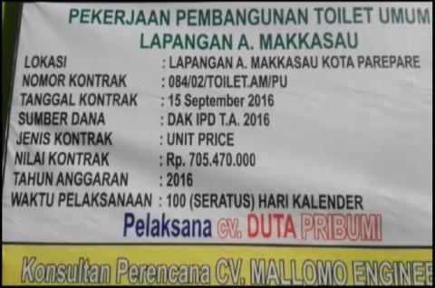Di Parepare, Tiga Toilet bakal Dibangun dengan Anggaran Rp1,3 M