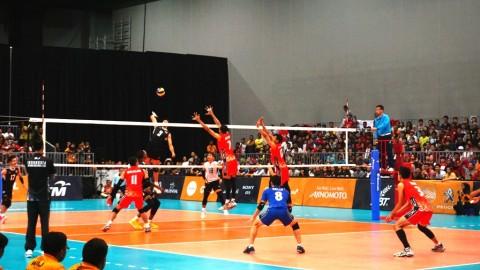 Suasana laga tim bola voli putra Indonesia vs Thailand. (Foto: