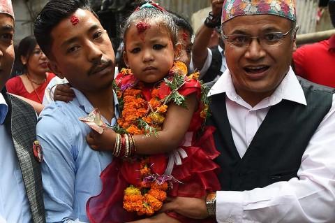 Gadis 3 Tahun Dinobatkan sebagai Dewi Hidup di Nepal