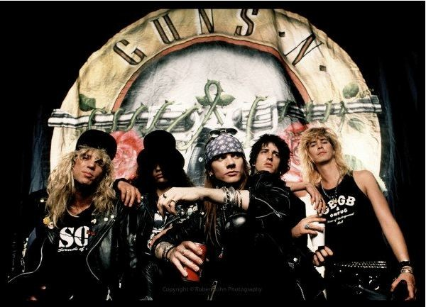 Guns N' Roses after fifteen hours filming the Sweet Child O'Mine video in Los Angeles 1988 (Photo: Robert John)