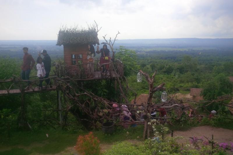 Pengunjung saat naik tangga rumah pohon Bukit Tinggi Sumenep. Foto: Medcom.id / Rahmatullah