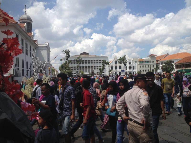 Suasana kawasan wisata Kota Tua, Jakarta Barat, Senin, 1 Januari 2018/Medcom.id/Inten Suhartien
