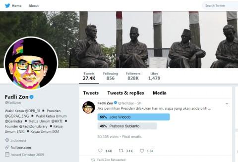 Fadli Zon Uji Pemilih Prabowo vs Jokowi di Twitter