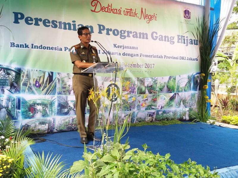 Wakil Gubernur DKI Jakarta Sandiaga Uno dalam peresmian program Gang Hijau di Cempaka Putih, Jakarta Pusat. Foto: Fiona Yosefina/Medcom.id