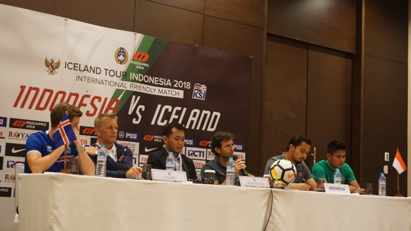 Suasana Jumpa pers Timnas Indonesia vs Timnas Islandia. (Foto: Medcom.id/Kautsar Halim)