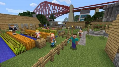Gameplay multiplayer dari Minecraft.