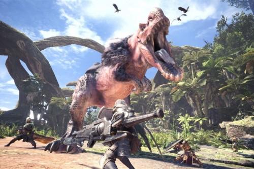 Adegan perburuan monster di game Monster Hunter World.