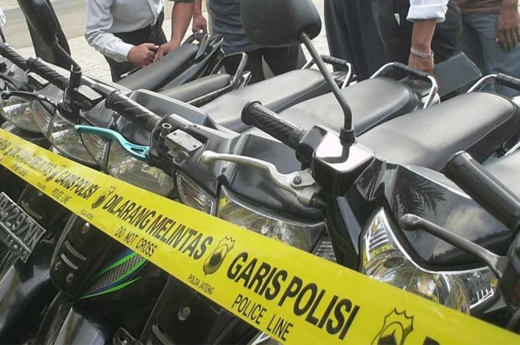 Ilustrasi kendaraan hasil curanmor disita polisi.