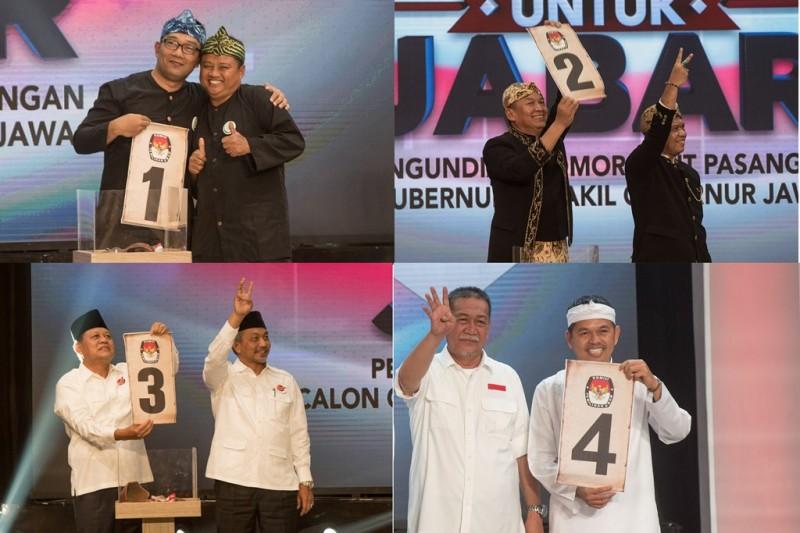 Pengundian nomor urut cagub dan cawagub Jawa Barat. (Foto: ANTARA/Novrian Arbi)