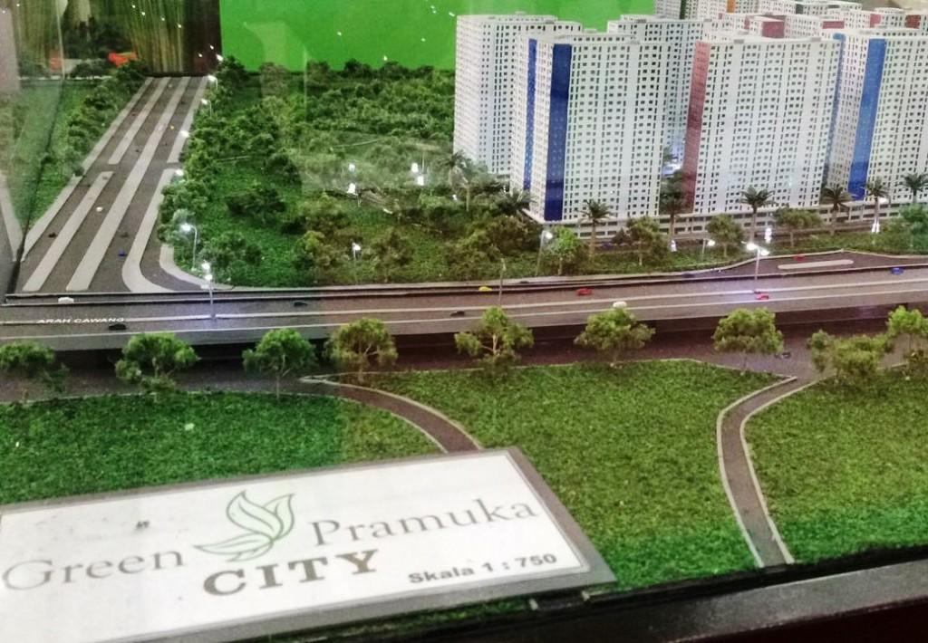 Maket apartemen Green Pramuka dalam pameran properti di JCC, Jakarta. (medcom.id/rizkie)