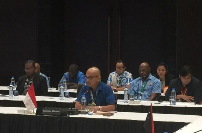 Direktur Jenderal Asia Pasifik dan Afrika Kementerian Luar Negeri, Desra Percaya di KTT ke-21 MSG (Foto: Dok.Kemenlu RI).