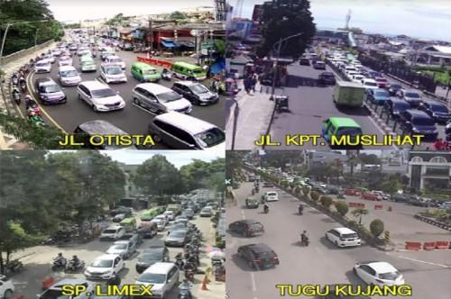 Suasana lalu lintas di empat lokasi di Bogor, Sabtu, 17 Februari