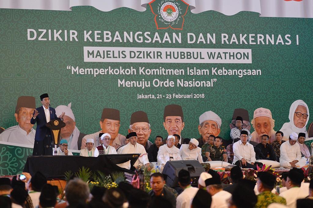 Jokowi Buka Rakernas I Majelis Dzikir Hubbul Wathon