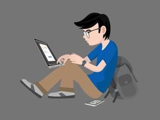 Ilustrasi mahasiswa mengikuti pembelajaran daring.
