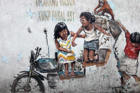 Mural Karya Pelukis Dunia di Medan Rusak