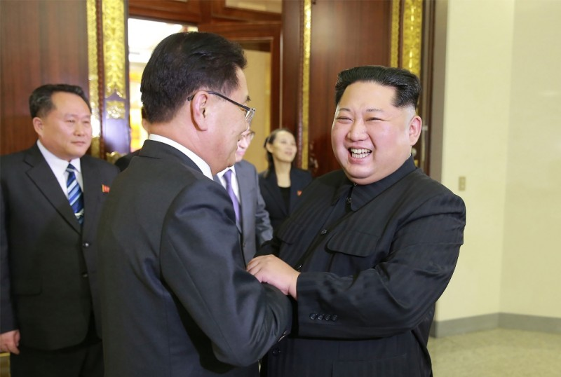 Kepala Kantor Keamanan Nasional Chung Eui-yong yang bertemu dengan Kim Jong-Un (Foto: AFP).