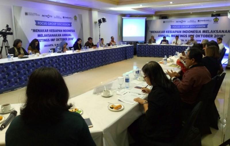 Diskusi Menakar Kesiapan Melaksanakan Annual Meetings IMF Oktober 2018. Foto: Medcom.id/Arga Sumantri.