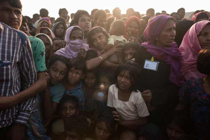 Pengungsi Rohingya yang ada di perbatasan Bangladesh. (Foto: AFP)