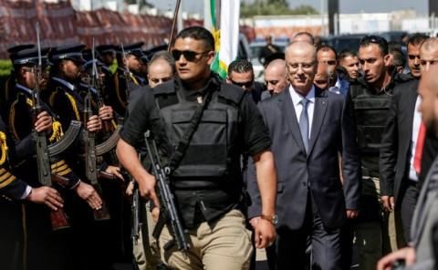 Palestinian prime minister Rami Hamdallah arrives in Gaza City