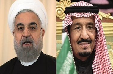 Presiden Iran Hassan Rouhani (kiri) dan Raja Arab Saudi Salman