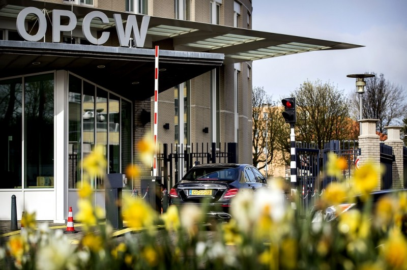 Markas besar OPCW di Den Haag, Belanda, 16 April 2018. (Foto: AFP/ANP/KOEN VAN WEEL)