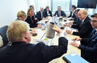 Pertemuan para petinggi Uni Eropa di Luxembourg, 16 April 2018.