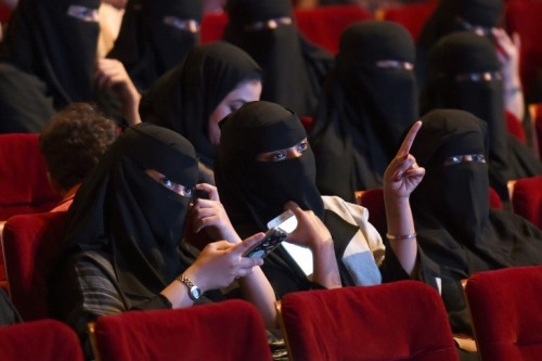 Saudi women enjoy a rare trip to the movies on October 20, 2017