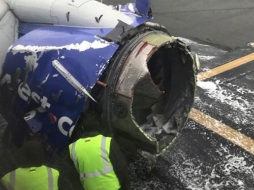 Mesin pesawat Southwest Airlines yang meledak (Foto: New York