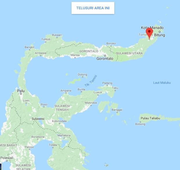 Peta Gunung Soputan di Sulawesi Utara, sumber foto: googlemaps