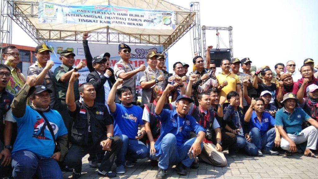 May Day di Stadion Wibawa Mukti, Kabupaten Bekasi, Jawa Barat. Foto: Medcom.id/Fachri Audhia Hafiez.