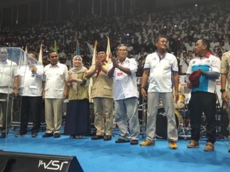Ketum Partai Gerindra Prabowo Subianto di aksi May Day KSPI. Foto: Medcom.id/Whisnu Mardiansyah.