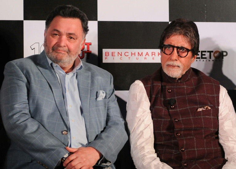 Bollywood royalty Rishi Kapoor (Left) and Amitabh Bachchan reunite for the first time in nearly three decades with