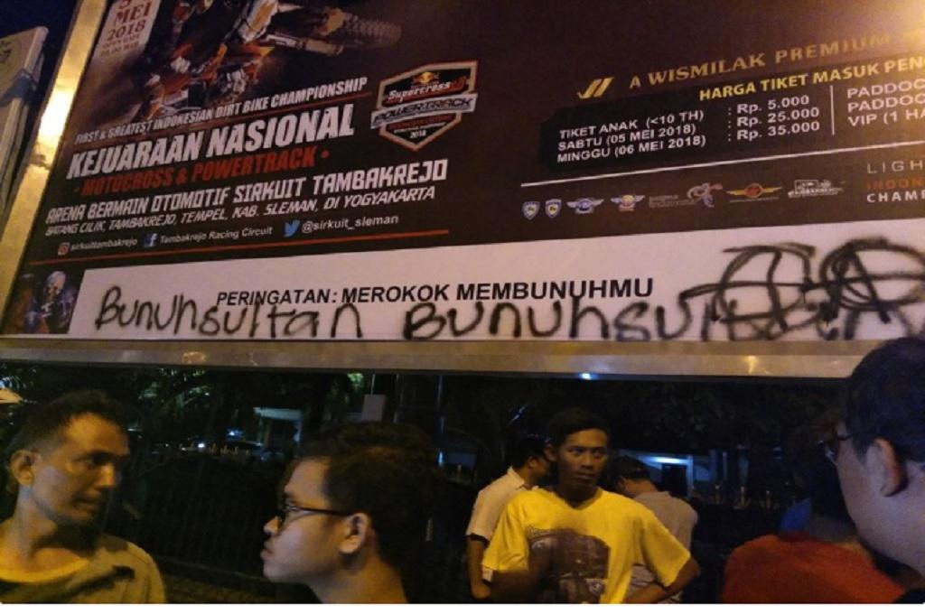 Tulisan bernuansa provokatif di Yogyakarta sesaat sebelum dihapus, Medcom.id - Ahmad Mustaqim