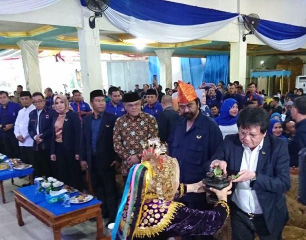 Ketua Umum Partai NasDem Surya Paloh di Graha Asiah Bengkulu--Medcom.id/Yogi Bayu Aji.