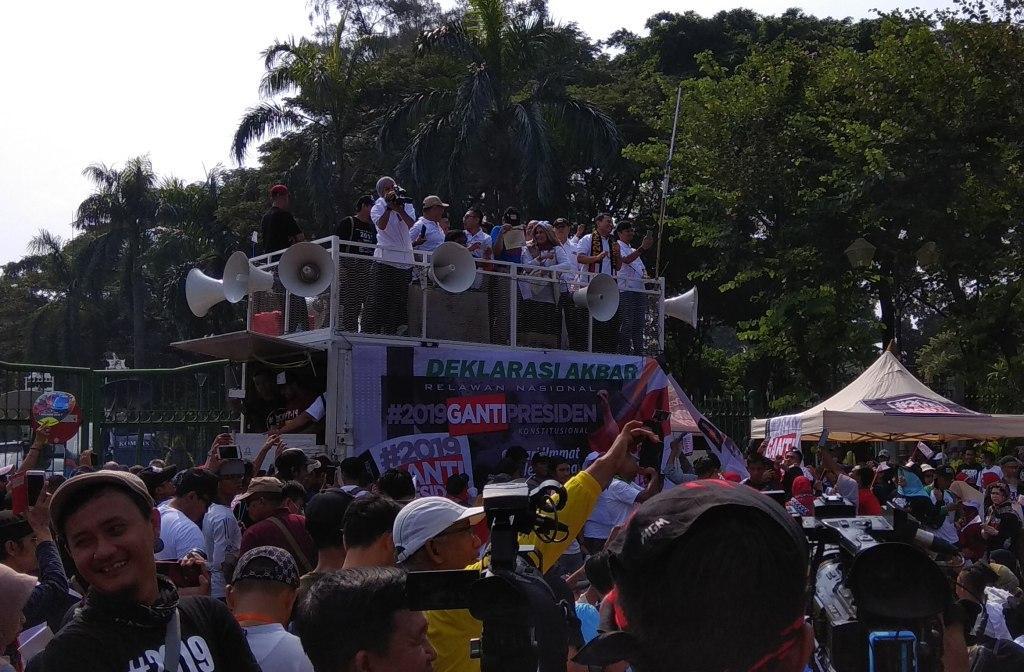 Deklarasi akbar #2019GantiPresiden di Taman Aspirasi Monas, Jakarta Pusat - Medcom.id/Fachri Audhia Hafiez.