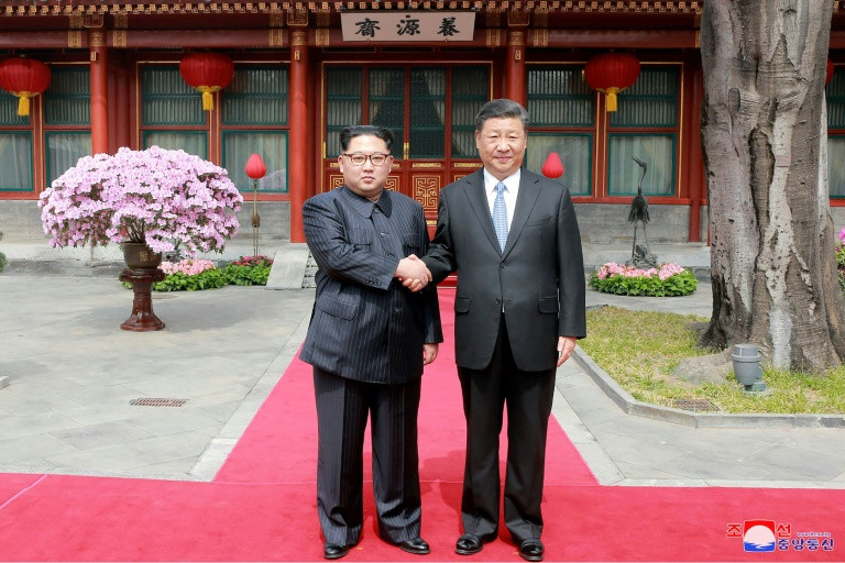 Kim Jong Un and Xi Jinping (pictured at their March meeting in Beijing) met in the northeast city of Dalian. (Photo:AFP/KCNA via KNS)