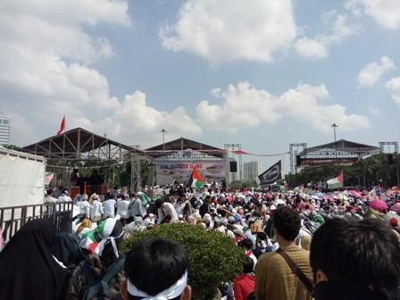 Massa aksi bela Palestina/Medcom.id/Siti Yona
