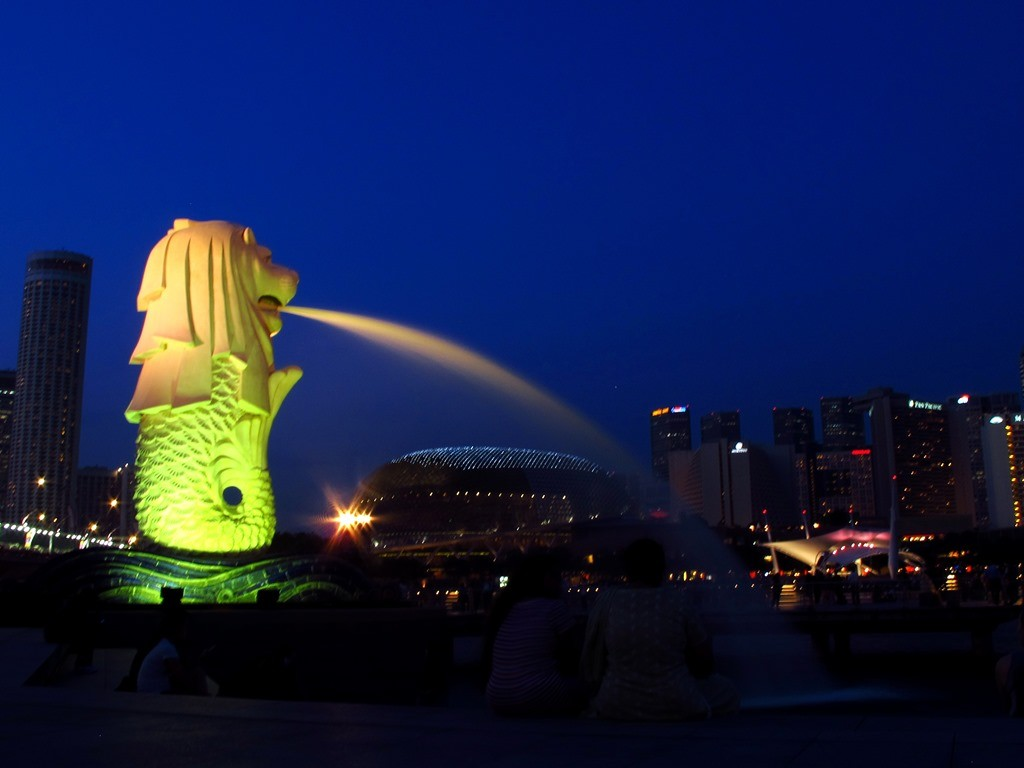 Patung Merlion, Singapura. (Foto: Photo Commerce/ ROMMY PUJIANTO).