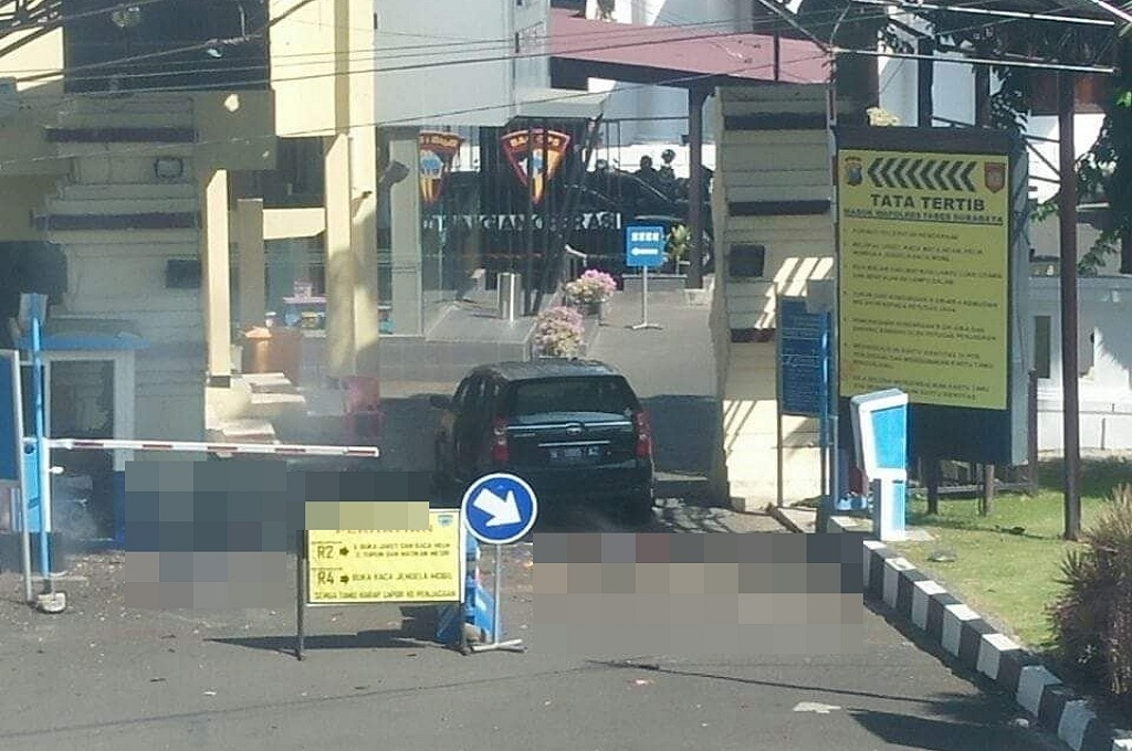 Kondisi Mapolrestabes Surabaya, Jawa Timur, setelah ledakan terjadi pukul 08.50 WIB, Senin, 14 Mei 2018, dok: istimewa