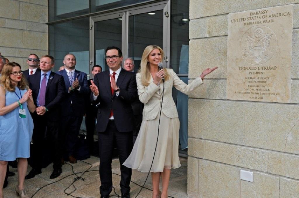 Putri Presiden Donald Trump, Ivanka, dalam peresmian Kedubes baru AS di Yerusalem, 14 Mei 2018. (Foto: AFP/MENAHEM KAHANA)