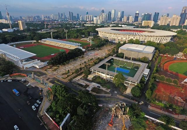 Kompleks olah raga Gelora Bung Karno, Senayan, Jakarta. Antara Foto/Wahyu Putro